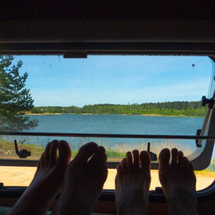Rīts pie Madonas kerjera ezera